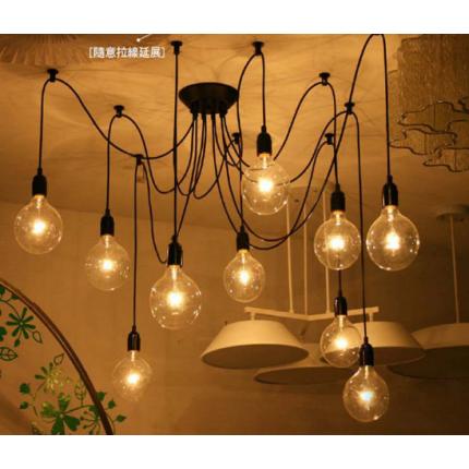 创意星空卧室个性复古DIY灯具 天女散花线灯爱迪生吊灯