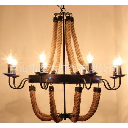 美式乡村铁艺麻绳吊灯复古个性创意咖啡厅餐厅装饰吊灯