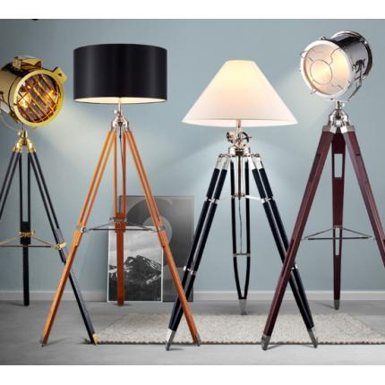 客厅北欧原木落地灯 美式复古三脚架个性创意实木书房落地灯