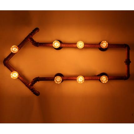 美式工业创意铁艺水管壁灯 仿古酒吧装饰箭头指示壁灯