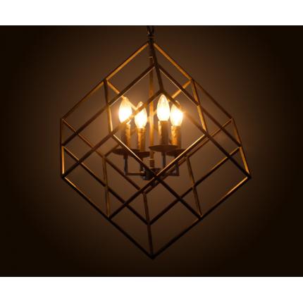 工业铁艺正方吊灯客厅魔方灯 复古场所装饰4头吊灯灯具