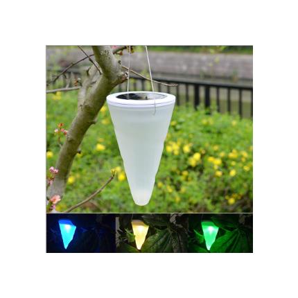 户外太阳能锥形LED挂灯 防水庭院吊灯家用花园景观灯七彩