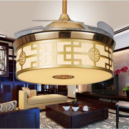 中式LED隐形餐厅装饰吊扇灯客厅书房变光风扇灯