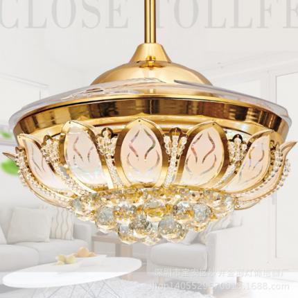欧式风扇灯隐形扇LED复古现代吊扇灯具 灯饰