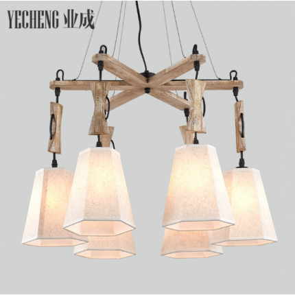 美式乡村餐厅灯卧室简约木头吊灯 大气个性复古田园布艺客厅灯具