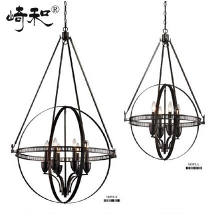 复古铁艺4头个性设计灯具 几何吊灯