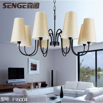 现代简约风格室内吊灯极具视感麻布质材灯罩主流黑色高温烤漆