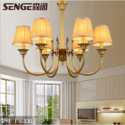 欧式客厅乡村铜吊灯美式全铜吊灯大气简约纯铜灯卧室复古