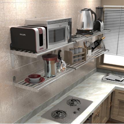 304不锈钢厨房置物架壁挂微波炉架烤箱家居用品收纳架