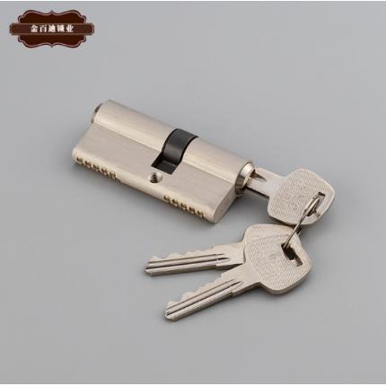 大70S槽双排锁芯 室内门防盗门锁芯 铜拉丝全铜锁芯