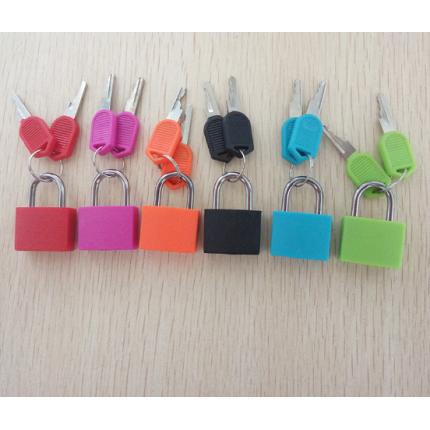 20mm带锁钩彩色铜锁+塑料锁 包塑挂锁带钥匙CH-CX01