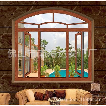 高品质铝木门窗 窗纱一体平开窗 高档铝包木窗
