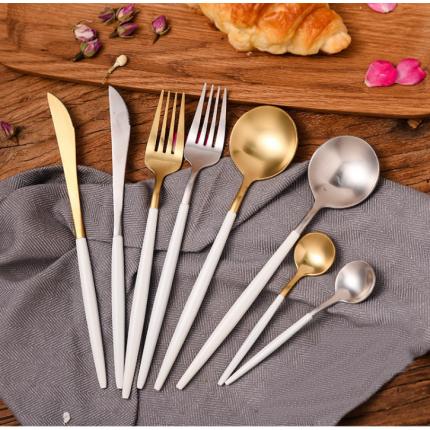 西餐餐具四件套18-10食品级材质白柄不锈钢白加金不锈钢刀叉