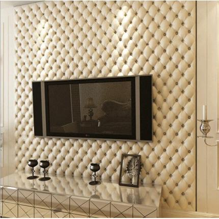 欧式仿软包墙纸3D立体仿皮纹壁纸卧室床头客厅电视背景墙墙纸