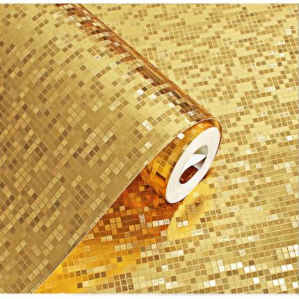 3D立体金色银色防水格子马赛克卫生间厨房柱子KTV柜台壁纸