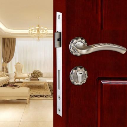 雕花装饰欧美式分体锁家具装修房门锁卧室防盗大门安全把手锁套装