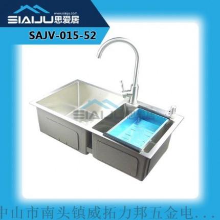 思爱居 双槽套餐厨房洗菜洗碗盆洗手池一体槽304不锈钢水槽