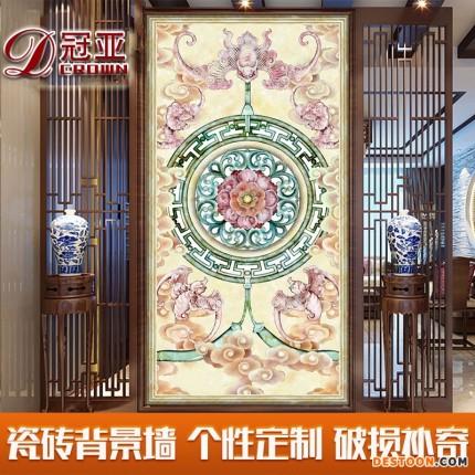 现代中式 玄关过道电视瓷砖背景墙 客厅墙砖3D瓷砖壁画建材