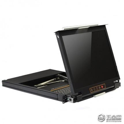 秦安(KinAn)DL1901 三合一单口19英寸双滑轨LED KVM切换器 VGA接口 四合一 切换器