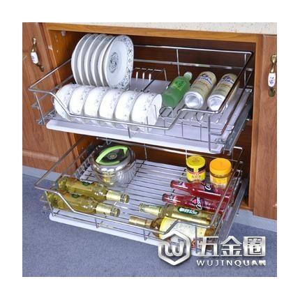 不锈钢橱柜滑轨可调式抽屉碗碟架 不锈钢水碗篮架 电器橱柜拉篮