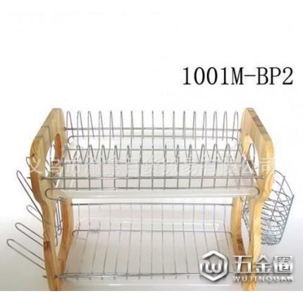厨房用具精品贴皮板B字形双层盘碗碟架(44CM配筷篓)