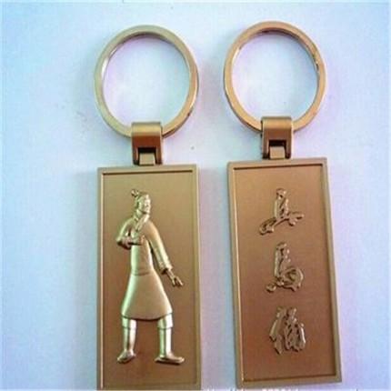 创意金属钥匙扣定制 电镀复古兵马俑方形钥匙扣 多串钥匙扣定制