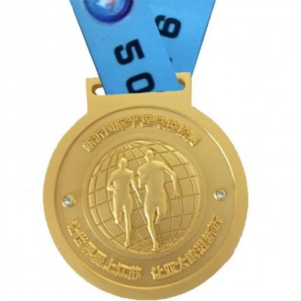 内蒙古骑行奖牌定制电镀金银铜织带奖牌国际半程马拉松镶钻奖牌