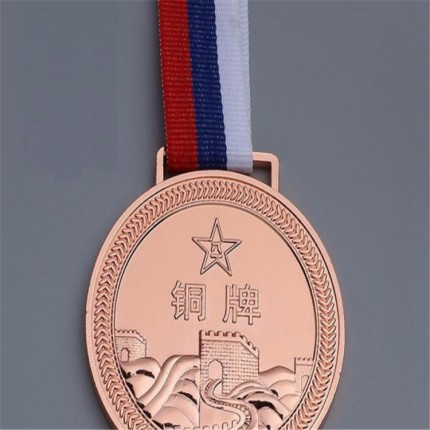 厂家定制金属浮雕工艺电镀红铜奖牌 烤漆圆形织带奖牌制作
