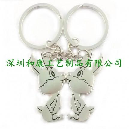 金属卡通钥匙扣定制 情侣赠送卡通人物钥匙扣 爱心钥匙扣挂件