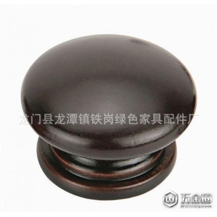 供应绿色木制配件单孔拉手 大蘑菇圆形木头拉手 黑