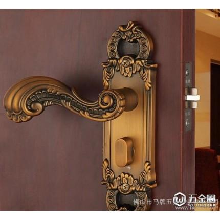 马牌 欧式室内门锁简约房门锁不锈钢拉丝欧式门锁