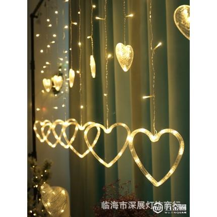 厂家批发爆款LED彩灯爱心冰条灯室内房间窗帘少女浪漫INS装饰灯串