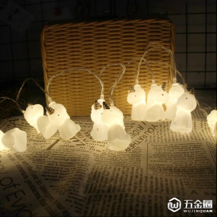 新款室内led灯串10灯独角兽电池灯儿童小夜灯圣诞灯欧美外贸爆款