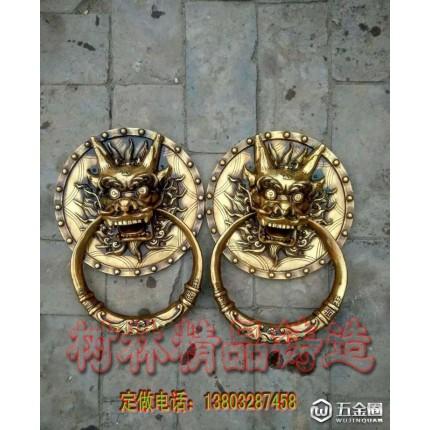 中式仿古五金铜门环铺首纯铜大拉手狮子头大拉手厂
